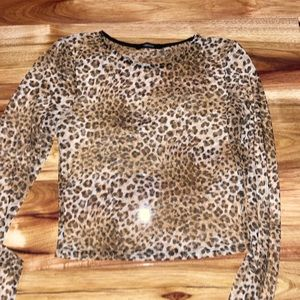 Mesh cheetah print long sleeve